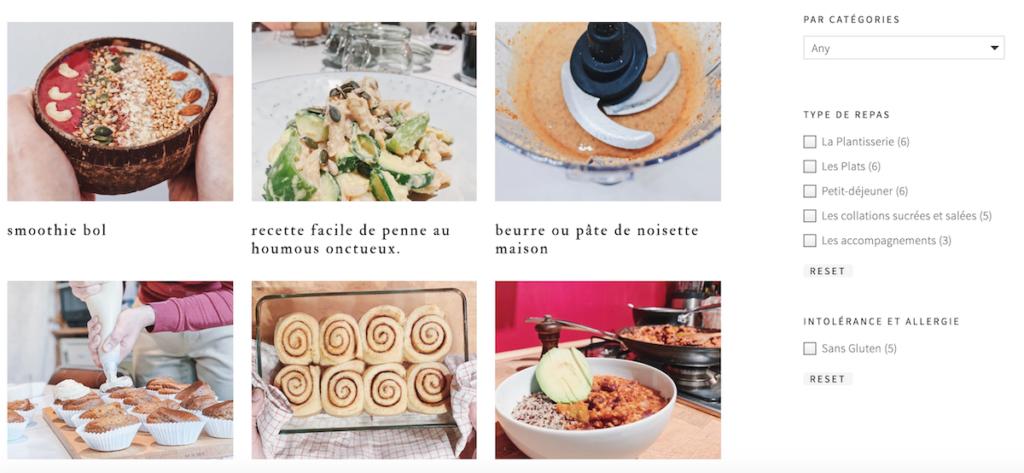 Layout de recettes Veg & Fred